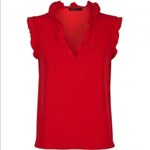 NwT New Maje red sleeveless frill blouse top
